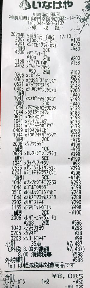 いなげや 川崎南加瀬店 2020/5/15 のレシート