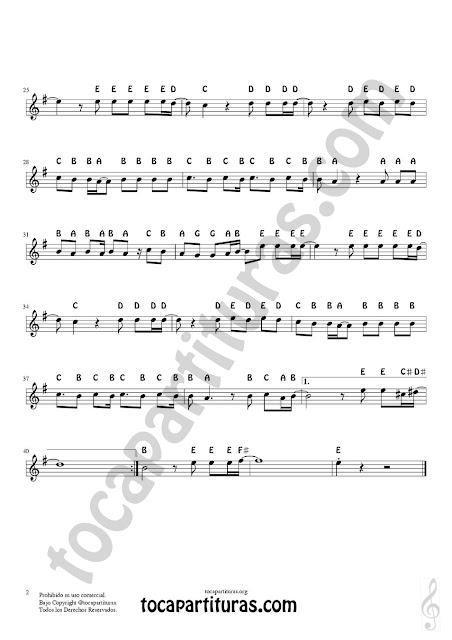 2 Easy Notes Sheet Music Resistire by Duo Dinamico for Treble Clef, Violins, Flutes, Saxophones, Clarinet, Trumpets, Horns... Partitura con Notas en Inglés Clave de Sol