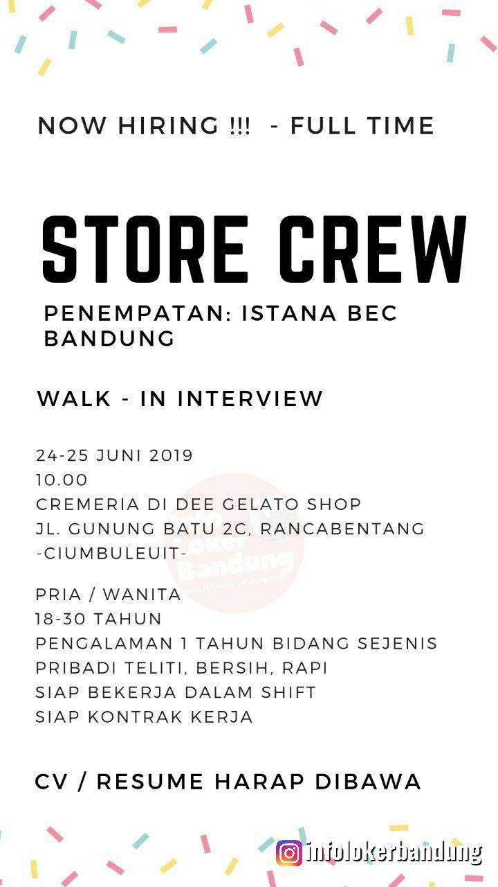 Walk In Interview Cremeria Di Dee Gelato Shop Bandung 24 -25 Juni 2019