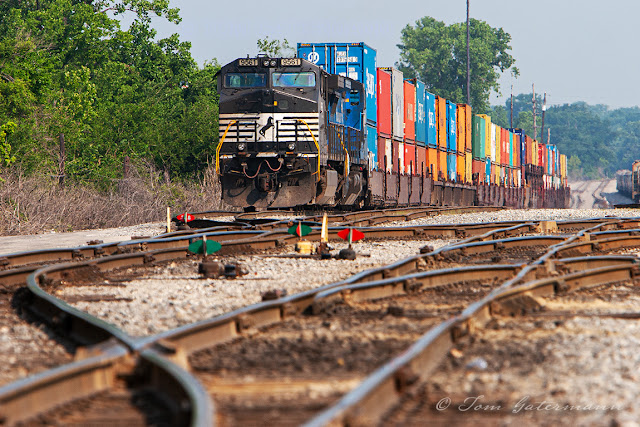 NS 9561 sits in Norfolk Southern's Luther Yard on the point of a stack train.