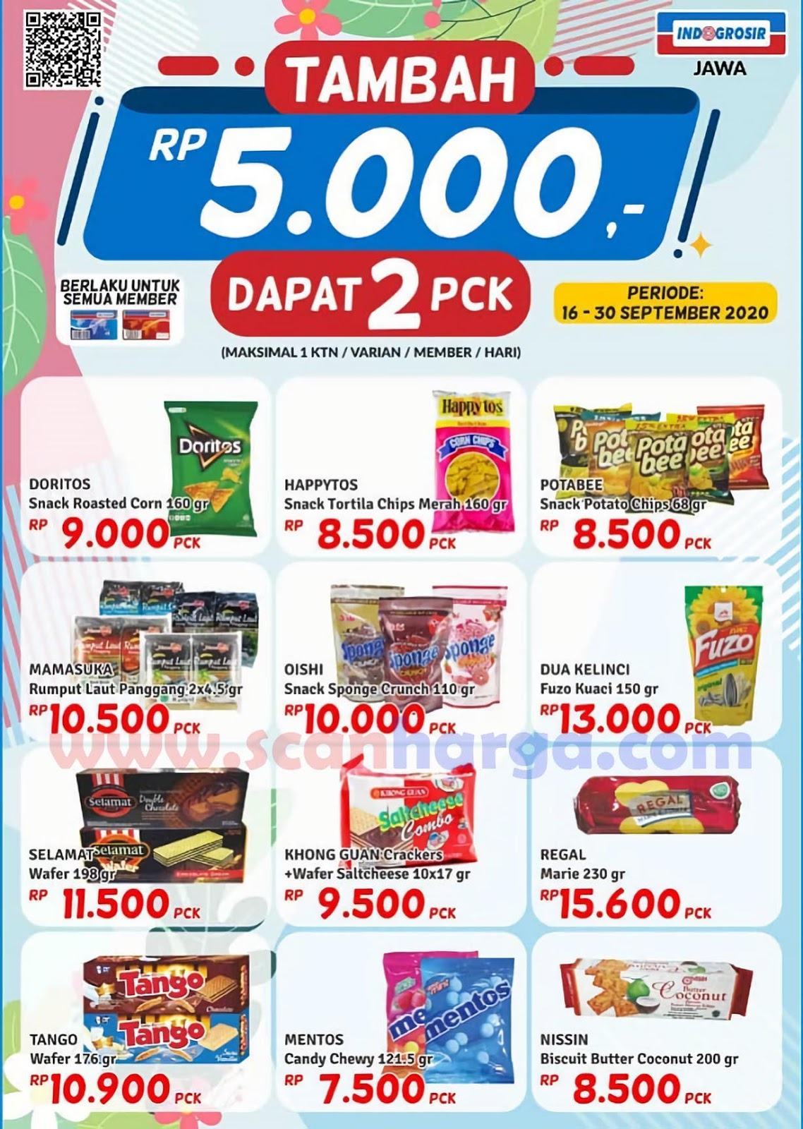 Promo INDOGROSIR Tambah +Rp 5.000 Dapat 2 PCK Periode 16 - 30 September 2020