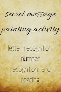 secret message painting activity: letter recognition, number recognition, and reading