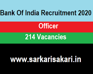 Bank Of India Recruitment 2020 - Apply For 214 Officer Post