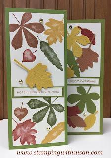 Stampin' Up! Love of Leaves Slimline Card ~ Susan LaCroix