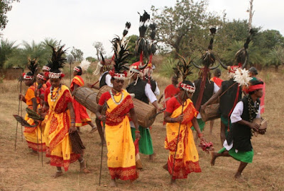 A dance of the Bison-Horn Maria Gonds of Chhattisgarh, in which the men wear horned head-dresses with plumes