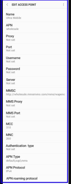 Ultra Mobile 4G APN Settings