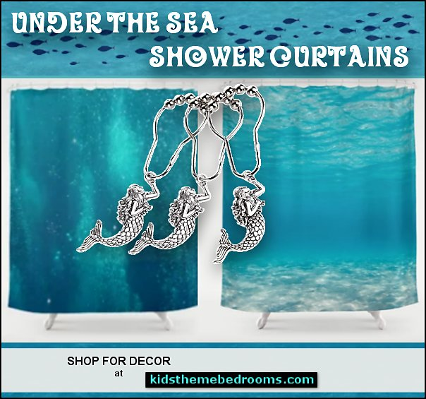 Mermaid Shower Curtain Hooks  Under the sea shower curtains  shower curtains - fabric shower curtains - novelty shower curtains - bathroom decor - novelty bathroom accessories bathrooms - glam bathrooms - girly bathrooms - mermaid bathrooms