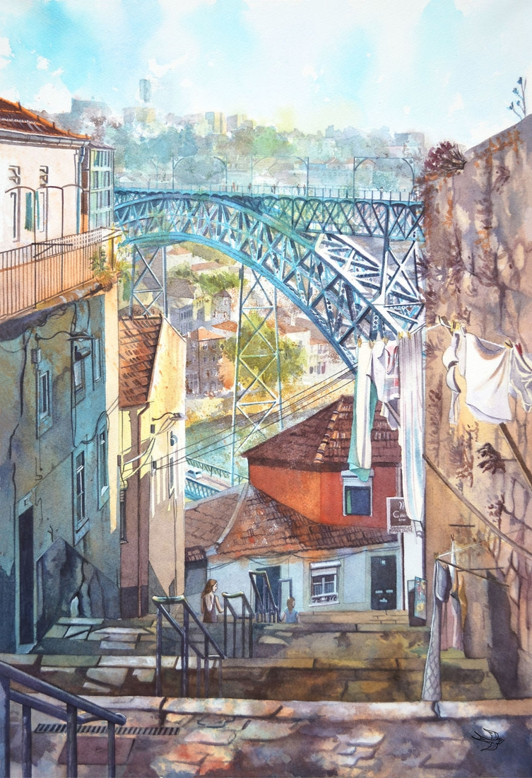 15-Portugal-Viktoria-Kravchenko-Architecture-Student-Paints-City-Scenes-Watercolors-www-designstack-co