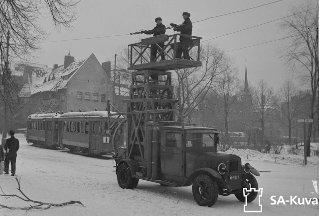 Destroyed by bombing, tram lines are repaired in February of 1944.