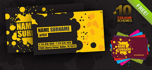 Creative Business Cards PSD Template +10 Colors