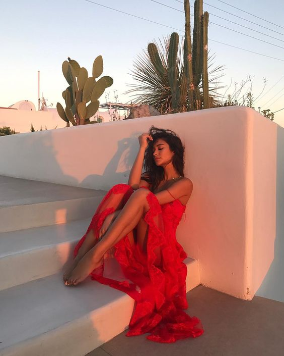 shay mitchell wearing red ruffle maxi dress summer vacation style