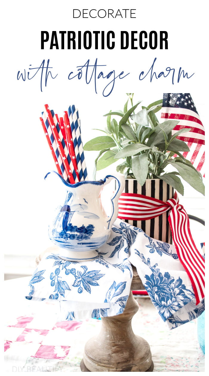 patriotic table decor using vintage and thrifted items