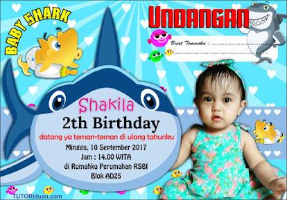 Desain Undangan Ultah Kartun Baby Shark CDR