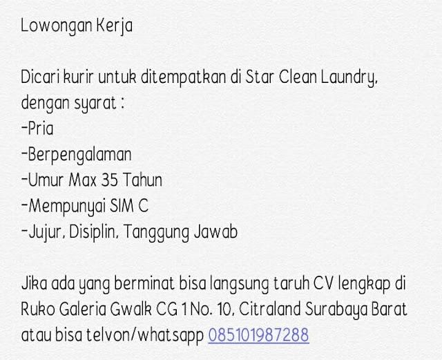 Lowongan Kerja Kurir di Star Clean Laundry Surabaya