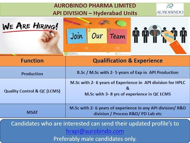 Aurobindo Pharma | Hiring Expd in Production/QC/MSAT at Hyderabad | Send CV