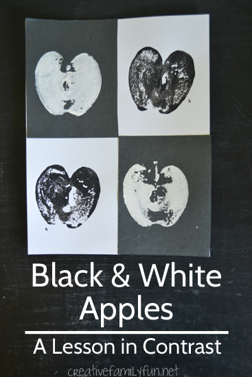 Learn about the art concept of contrast with this simple black and white apple printing project.