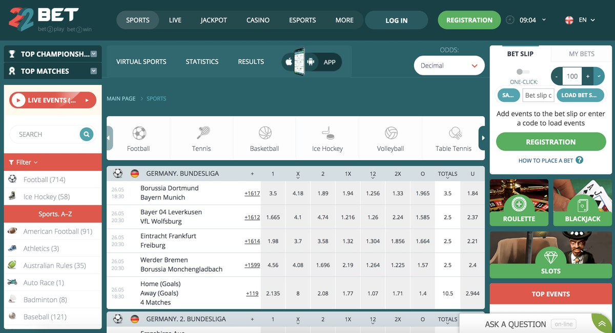 22Bet Nigeria and Canada: Registration, Payment, Deposit, Odds and Bonus