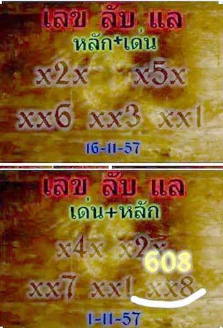 Thai lottery HTF Digits 16-11-2014