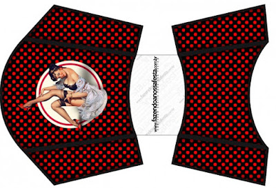 Pin Up in Black with Red Polka Dots Free Printable Fries Box.