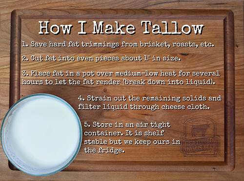 How to make beef tallow for searing, frying, and sauteing.