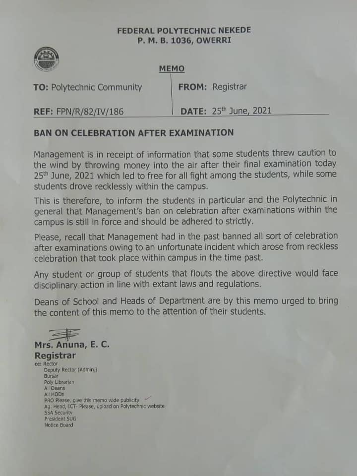 Federal Poly Nekede Bans Final Exam Celebration in Campus