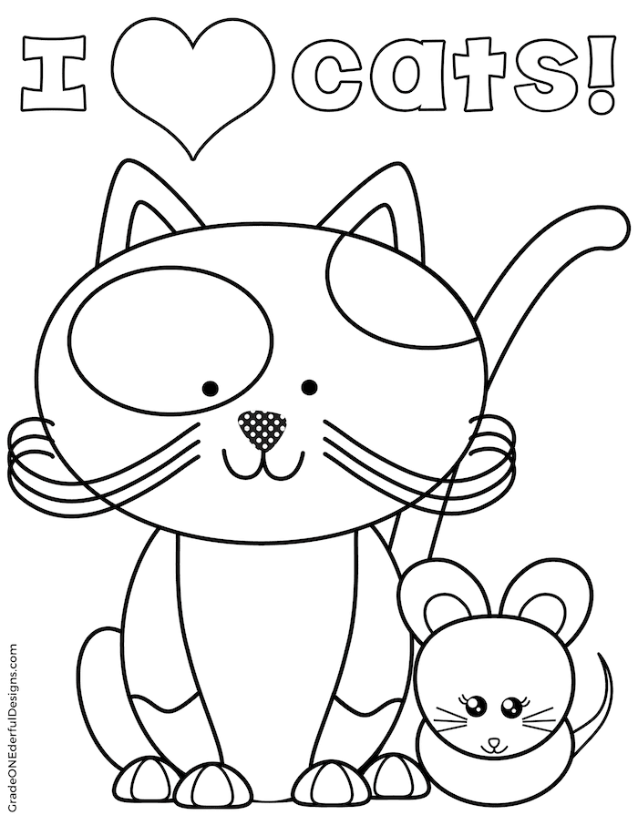 FREE cat  and toy mouse coloring page