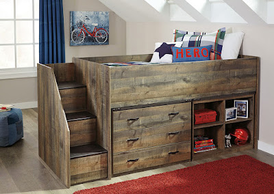 brown twin kids' loft bed