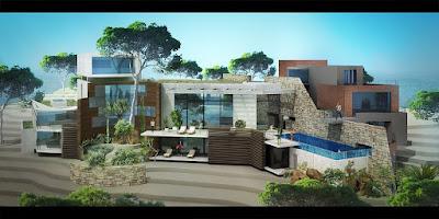 Perspective 3d villa de luxe architecte Liban