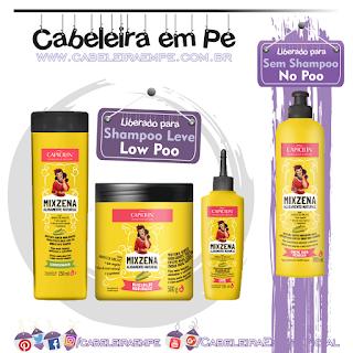 Composição Máscara (Low Poo), Condicionador (Low Poo), Creme para Pentear (No Poo) e Leite (Low Poo) Mixzena - Capicilin