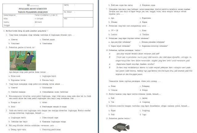 Soal PAS Kelas 4 SD/MI: Tema 3