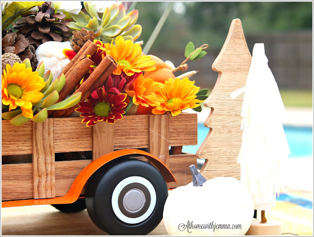 Mums, pinecones, cinnamon, sticks, antlers, vintage, metal truck, Thanksgiving, centerpiece, athomewithjemma
