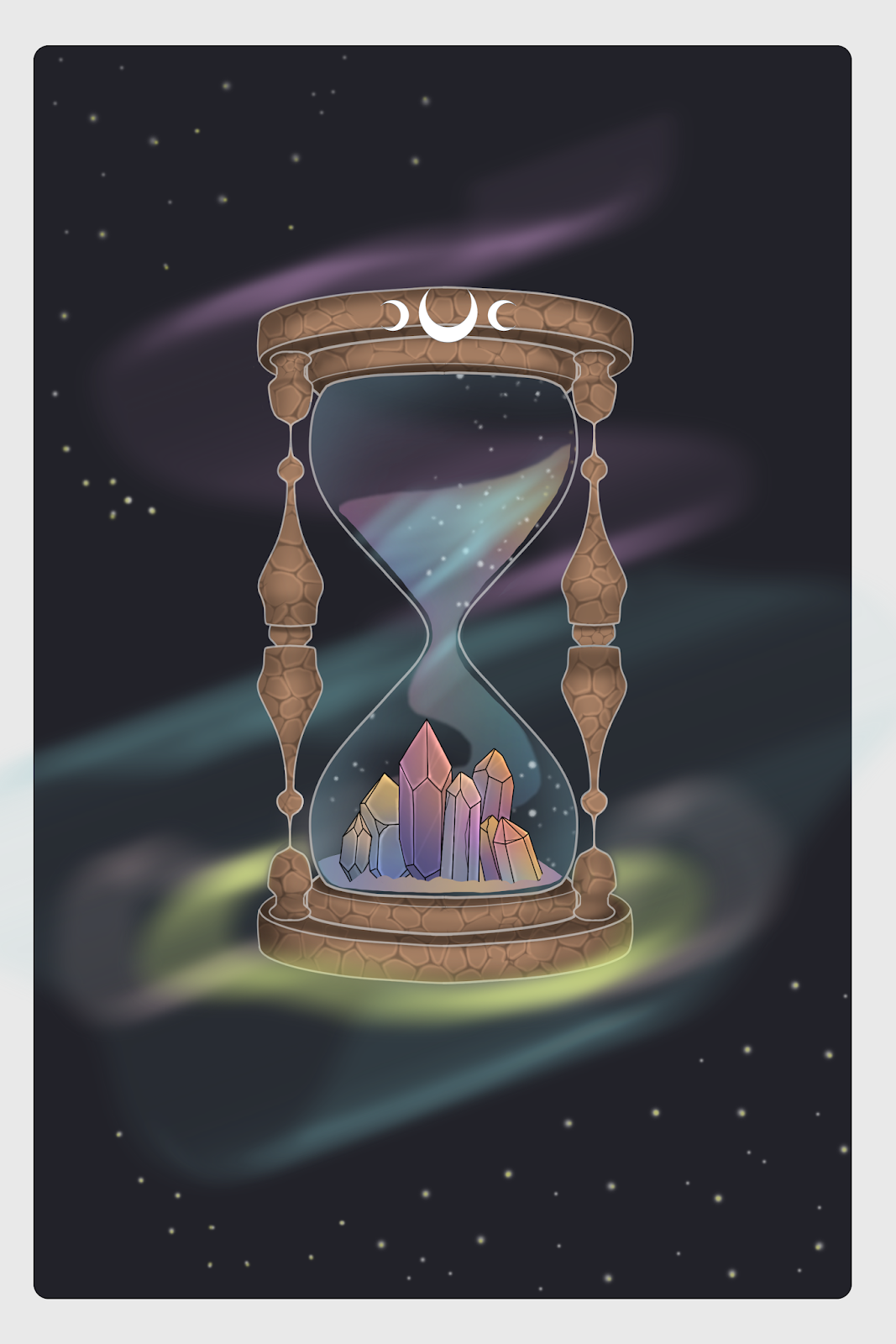 crystals in a hourglass drawing