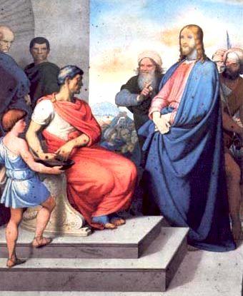 Dibujo de Poncio Pilato hablando con Jesús