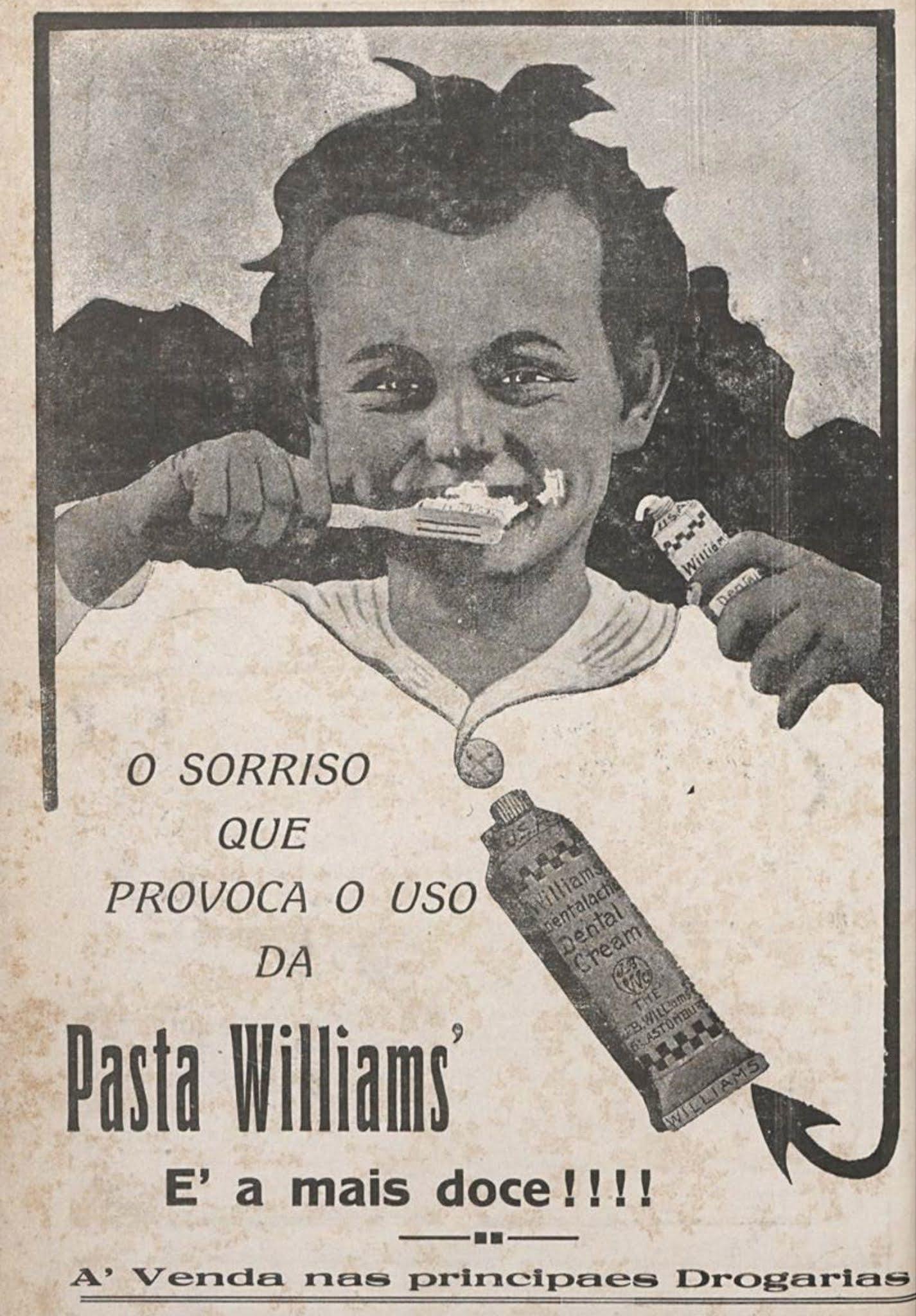 Anúncio antigo de 1920 do creme dental Williams