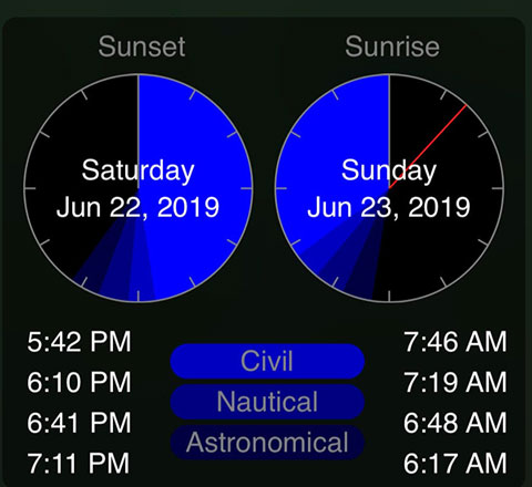 GoSkyWatch app screenshot of  sunset/sunrise times in Santiago, Chile (Source: Palmia Observatory)