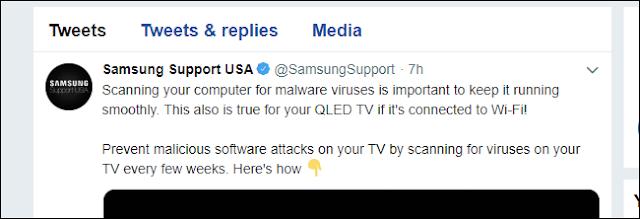 تغريدة سامسونج تدعم مكافحة الفيروسات