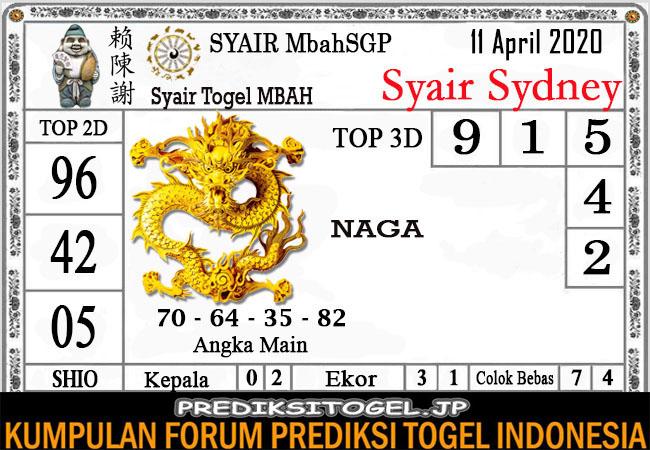 Prediksi Togel Sidney Sabtu 11 April 2020 - Syair Mbah Sydney
