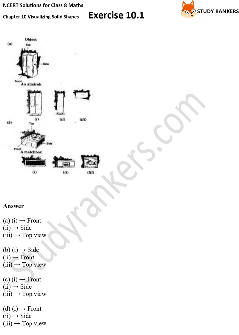 NCERT Solutions for Class 8 Maths Ch 10 Visualizing Solid Shapes Exercise 10.1 2