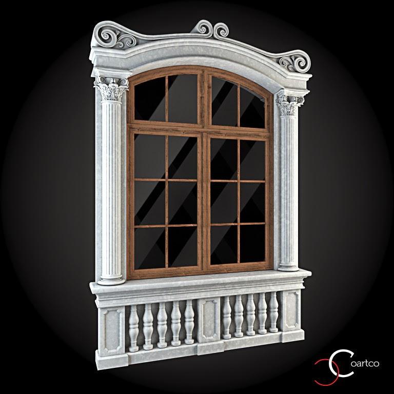 Ornamente Geamuri Exterior, Coloane Decorative, fatade case cu profile decorative polistiren, profile fatada,  Model Cod: WIN-044