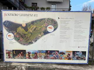 The sign for the trail Laudato Sii.