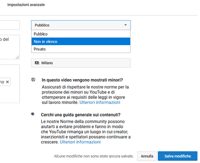 Come nascondere un video su youtube