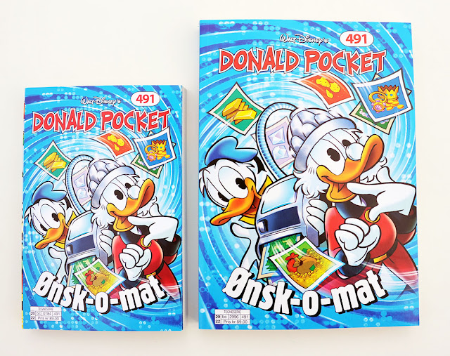 Norwegian Donald Pocket #491, regular size (left). large size edition (right)