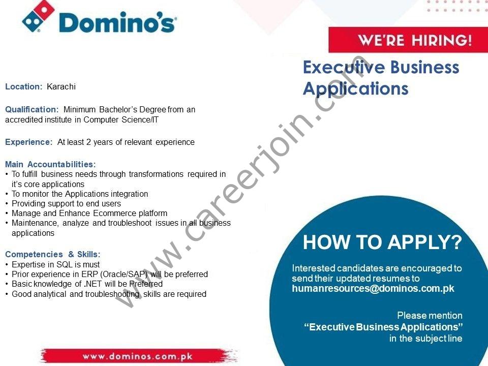 Domino's Pizza Pakistan Jobs Executive Business Applications