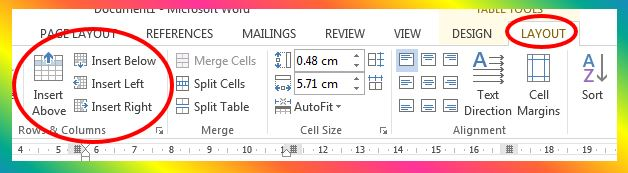 insert rows options in MS Word 2013
