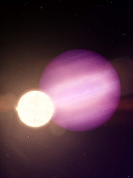 An artist's concept of the exoplanet WD 1856 b orbiting the white dwarf star WD 1856+534.