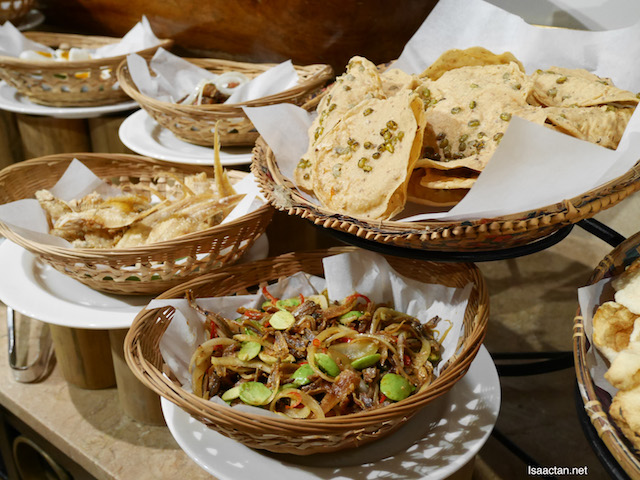 Different types of crackers and delicious Malay sambals