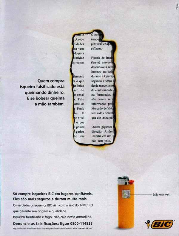 Anúncio de 2003 da Bic combatia a venda de isqueiros falsificados