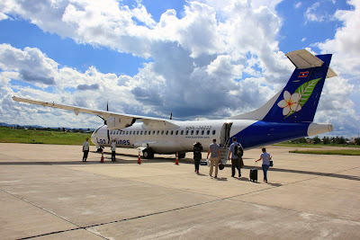 Lao Airlines plane at the airport in Pakse