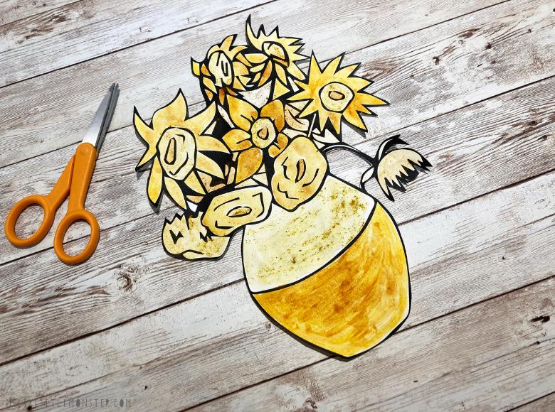 Van Gogh sunflower painting for kids