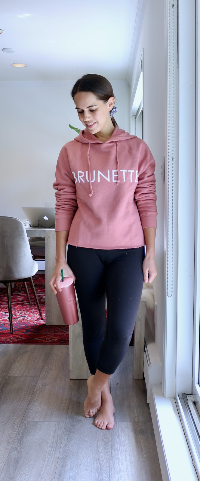 Jules in Flats - Brunette the Label Cropped Hoodie (Easy Work from Home Outfit)